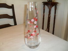 HEAVY CLEAR CASED ART GLASS VASE WITH HAND PAINTED FLOWER DESIGN