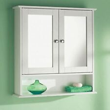 DOUBLE MIRROR DOOR WOODEN INDOOR WALL MOUNTABLE BATHROOM CABINET SHELF NEW