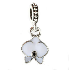 925 Silver Charm Beads Flowers Pendant Fit sterling Bracelet Necklace Chain BB65