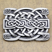 Celtic Irish Trinity Cross Knot Scottish Kilt Cowboy Rodeo Silver Belt Buckle H9