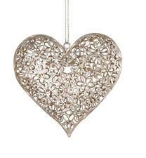 Distressed Silver Metal Daisy Hanging Heart Decoration Shabby Chic Gift Wedding