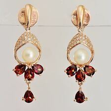 NEW PEARL GARNET + 54 DIAMONDS IN 9K ROSE GOLD EARRINGS, VINTAGE INSPIRED DROPS.