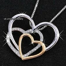 Silver & Gold Crystal Heart Necklace Gifts For Her Women Jewellery Pendant Chain