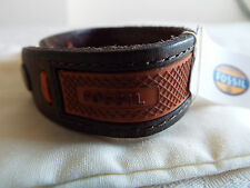 Men's Fossil Leather & Orange Rubber BRACELET NEW with fossil cloth bag BNWT