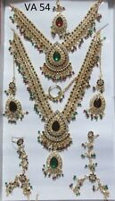 Indian Fashion Jewelry Asian Bollywood Set FULL Heavy Bridal Dulhan Red CZ Sets