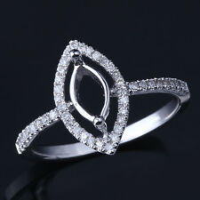 Solid 10K White Gold Marquise Cut Semi Mount Engagement Wedding Diamond Ring
