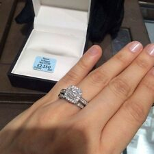 Ernest Jones Platinum 1 Carat Diamond Double Halo Bridal Set Size i - Was £3250