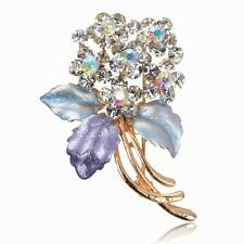 New Diamante Flower Enamel Rhinestone Purple Breastpin Pin Brooch Bouquet