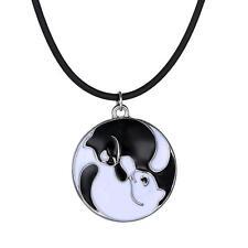 Anhänger Katze Yin Yang Emaille und Kette schwarz Kautschuk