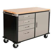 Seville HD 4ft Rolling Workbench Wood Top, Four Drawer & Cabinet Garage Storage