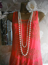 new neon coral gold bead river island flapper gatsby 20s party  dress 8