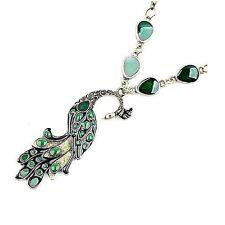 Beautiful Vintage Style Bronze Tone Green Enamel Peacock Necklace