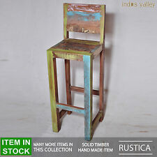 Rustica French reclaimed old timber shabby chic Home Bar stools stool kitchen