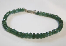 Natural emerald bracelet with sterling silver clasp...49 carat faceted beads