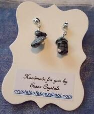 CAPRICORN ZODIAC BIRTHSTONE SNOWFLAKE OBSIDIAN SEMI-PRECIOUS GEMSTONE earrings
