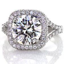 3.25 Cts Split Shank Large Halo Round Diamond Engagement  Ring 18K White Gold