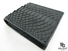 PELGIO Real Genuine Python Belly Skin Leather Credit Card Bifold Wallet Black
