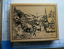 PSX Rare Snowy Christmas Village Sleigh Ride Wood Mounted Rubber Stamp K-2754