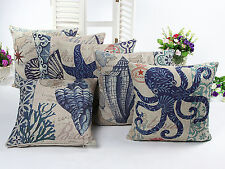 6 PCS 18'' Blue Octopus Conch Shell Starfish Linen Pillow Cushion Covers 6KD1