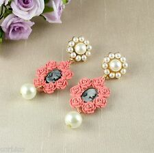 E7 Vintage Style Pink Resin Faux Pearl Cameo Statement Dangle Stud Earrings