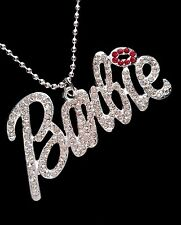 Barbie Iced Out Silver Plated Rhinestone Pendant Necklace *UK*