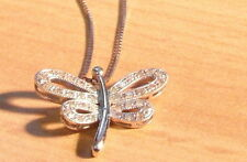 896E VINTAGE LADIES 9 CT WHITE GOLD DIAMOND DRAGONFLY NECKLACE