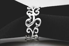 SIZE 8.5 SOLID STERLING SILVER FILIGREE SWIRL DESIGN RING BAND FOR LADIES/WOMEN