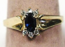 10K Yellow Gold Genuine Solitaire Oval Sapphire & Diamond Design Ring Size 6.50