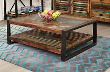 Urban Chic reclaimed indian wood furniture living room coffee table with shelf
