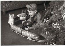 Postkarte: Katzen - Express unterm Weihnachtsbaum und ein kleiner Eisenbahner