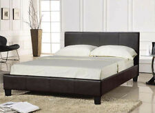 PRADO Faux Leather Double Bed 4ft6 BROWN + Mattress Tanya