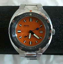 """Doxa """"Clive Cussler"""" Sub 300T Seahunter Dive Watch Orange Face 2002 Signed Cert"""