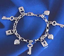18k 18ct White Gold GF love key pendant bracelet chain woman BL-A204