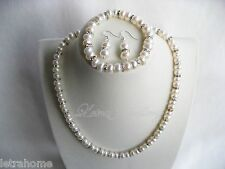 8mm Real White Freshwater Pearl Clear Crystals Necklace Bracelet Earrings Sets