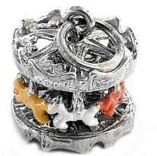 VINTAGE SILVER MOVABLE CAROUSEL CHARM