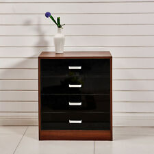 High Gloss Black &Walnut 4 Drawer Chest of Drawers Bedside Cabinet Table Bedroom
