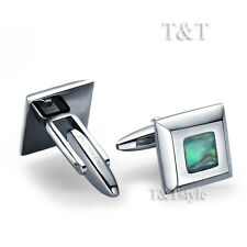 High Quality TTstyle 316L Abalone Inlaid Square Stainless Steel Cufflinks