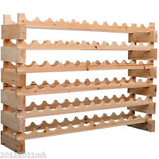 HOMCOM 72 Bottles Stackable Wooden Wine Storage Rack 6 Tier Display Wood Shelves
