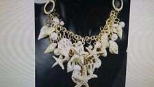 Large Gold Tone Pearl Shell Beach Chunky Necklace Jewelry Ships Today Stunning