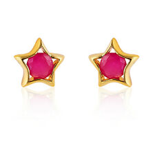 18k ruby crystal stud earrings yellow gold filled womens vintage red pink