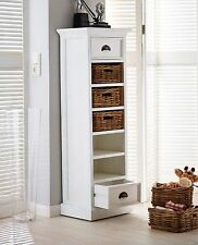 Rutland white painted furniture wellington chest of drawers with baskets