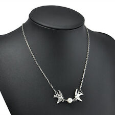 Cute Double Swallow Birds Play Pearl Necklace Silver Pendant Chain Jewelry