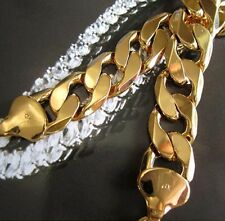 "Heavy 24 Yellow Gold Filled Mens Necklace 24""/12mm Curb Chain 103g"