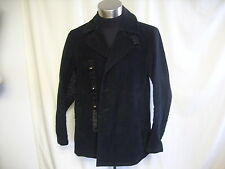 Mens Coat Emporio Armani size L black, contrast panels, cotton & leather 0714