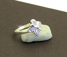 RING JEWELLERY JEWELRY LADIES 925 STERLING SILVER LILAC CZS SIZE 8 OR P