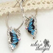 Fashion 1Pair Blue Crystal Rhinestone Enamel Butterfly Dangle Hoop Earrings