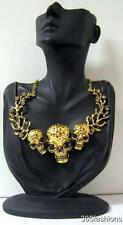 STATEMENT PUNK ROCK CHIC GOTHIC THREE SKULL HEAD CRYSTAL COLLAR GOLD NECKLACE