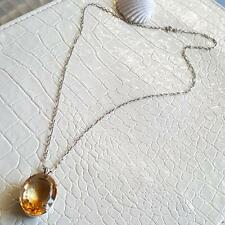 """CHRISTMAS SPECIAL HUGE CITRINE  GLASS SOLID SILVER PENDANT NECKLACE 14g 20"""" 925"""