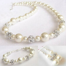18K WHITE G/P AUSTRIAN CRYSTAL AND PEARL NECKLACE, BRACELET & EARRING SET