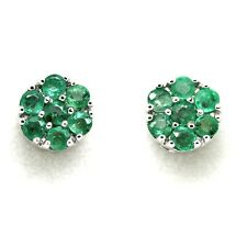 Natural Green 8 mm Round Emerald Cluster Earrings in Heavy White Gold Screw Back